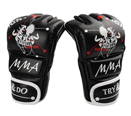 Blancho Boxe - Kickboxing Gant moitié Gants Finger/MMA, Noir