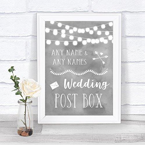Grijze Watercolor Lights Card Post Box Gepersonaliseerde Wedding Sign Print Large A3 Grijs