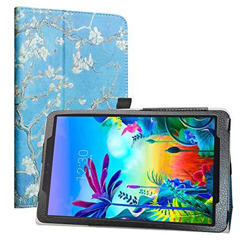 LiuShan Kompatibel mit LG G Pad 5 Schutzhülle, PU-Leder, schmal, faltbar, mit Standfunktion, für LG G Pad 5 10.1 T600 Tablet PC (nicht für LG G Pad X II 8.0 Plus V530), Mandelblüte