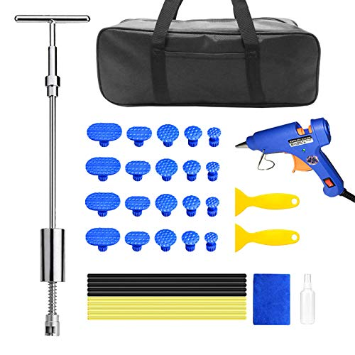 Dellen Reparatur Ausbeulwerkzeug Set - Dent Puller Gleithammer T-Stangenwerkzeug mit 20-teiliger Dellenentfernung Zuglaschen für Auto Auto Body Hail Damage Fahrzeug Dellen/Hagel Schaden Entfernen