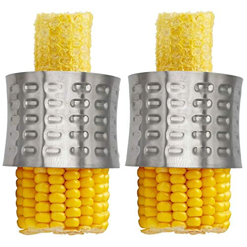 THMY 2 Pack Stainless Steel Corn Stripping Tool,Corn Stripper,Corn Kernel Cutter Peeler,Slicer,Cutter,Remover,Corn Zipper Serrated Blade with Non-Slip Grip