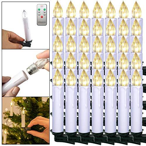 Froadp 40 Stück Dimmbare LED Mini Weihnachtskerzen mit Fernbedienung Kabellos Christbaumkerzen für Weihnachtsbaum deko Geburtstagsdeko Kerzen Satz(Warmweiß)