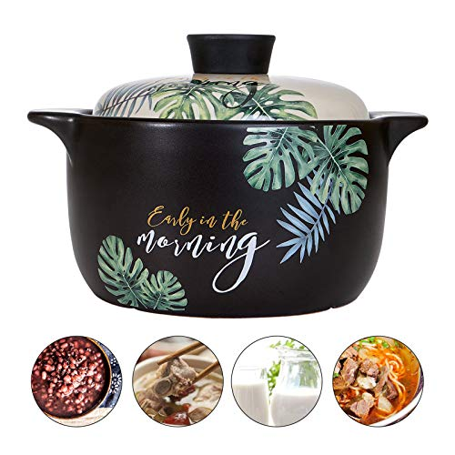 Clay Cooking Pot Cookware 2.36-Quart, Ceramic Stockpot, Soup Pot Stew Pan Casserole Clay Pot Earthen Pot Healthy Stew Pot, Green Leaf Pattern Ceramic Round Black Dish with White Lid Heat-Resistant