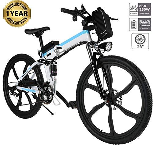 fiugsed Elektrofahrrad Mountainbike 26 Zoll E-Bike 36V, 250W Das-Kit Heckmotor, 21 Gang Gangsc (26 Zoll Weiß)