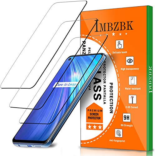 IMBZBK 【3 Pieces】 Compatible with Realme 6 Tempered Glass, [No Bubbles] [Maximum Coverage] [HD Clarity] Anti-Scratch Tempered Glass - Transparent