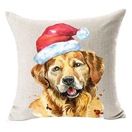 Sofa Pillowcover Cushion Cover 18'X 18' Throw Pillow Cover Home Decor Christmas Pillow Christmas Dog (8)