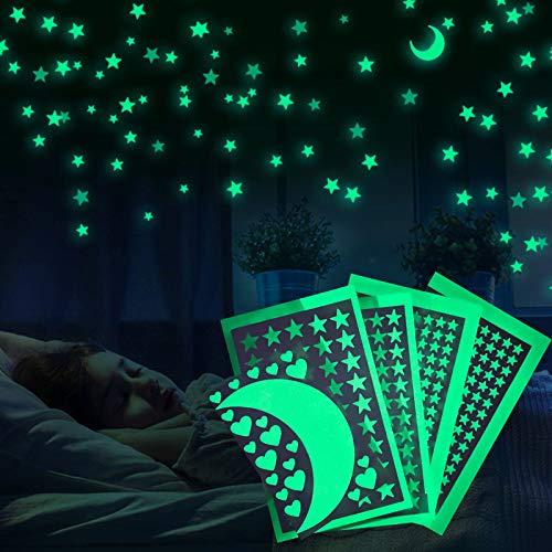 Meloive Pegatinas De Estrellas Para Pared Que Brillan En La Oscuridad, Decoración Fluorescente Para Pared Para Habitaciones De Niños, Guarderías O Fiestas(438 pcs)