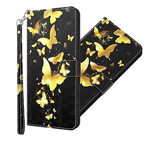 QIWEIQING Samsung Galaxy S8 Plus Hülle Flip 3D lackiertes PU-Leder Cool Golden Butterfly Schutzhülle Standfunktion Sicherheit Magnetschnalle Brieftasche Hülle Flip YX.