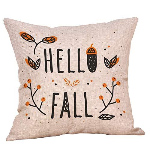 FBGood Kissenbezug, Halloween, Kissenhülle aus Leinen mit Kürbis Halloween, dekorativ für Sofa, Bett, Auto, 45 x 45 cm B
