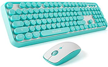 SADES V2020 Wireless Keyboard and Mouse Sets,White Blue Retro Style Keyboard with Round..