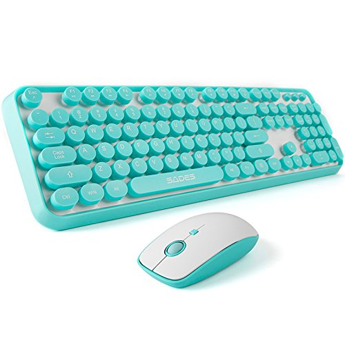 SADES V2020 Wireless Keyboard and Mouse Sets,White Blue Retro Style Keyboard with Round Keycaps,2.4GHz Dropout-Free Connection Mouse with 3 Adjustable DPI,Long Battery Life for Windows,Notebook,PC