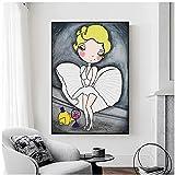 ZXYFBH-cuadros decoracion salon modernos23.6x31.5in(60x80cm)x1pcs No Frame Marilyn Monroe dibujos animados lienzo pintura mujer sexy arte de la pared dormitorio moderno decoración de la sala de estar