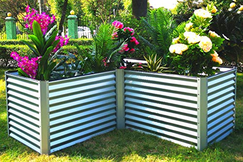 OUTFLEXX Eck-Hochbeet in silber, Zincalume, 210x210x90x84cm, Gemüsebeet Blumenbeet aus Metall für Garten & Balkon