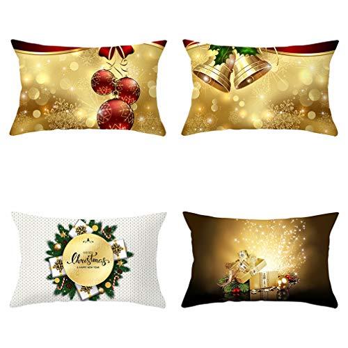 Nunubee - Juego De 4 Fundas De Almohada Decorativas con Diseño De Bolas Navideñas, Fundas De Almohada para Sofá Y Decoración De Oficina (Color De La Imagen, 50 X 30 Cm)