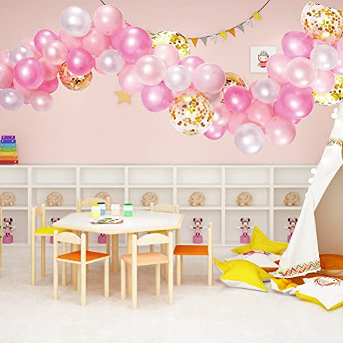 ABxinyoule Pink Balloon Garland Rose Balloon Arch 117pcs Pearlescent Balloon Kit Gold Confetti Balloon Bling Star for Birthday Wedding Party Decorations (White Pink Gold)