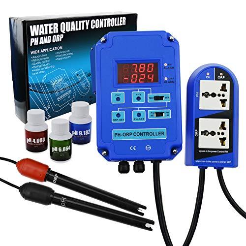 Digitaler pH Redox-Redox-2-in-1-Controller-Monitor mit Ausgangsleistungsrelaissteuerung, Elektrodensensor BNC, Wasserqualitätsmessgerät Online Continuous Measurement Kit