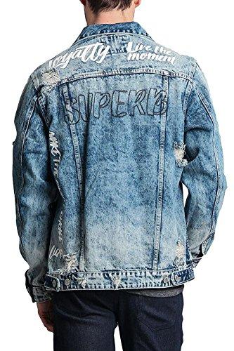 Victorious Men's Scribbled Text Motivational Street Font Distressed Denim Jacket - DK120 - Indigo - Large - II11H