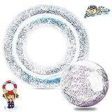 2 flotadores hinchables, con purpurina, pelota de playa con lentejuelas, flotador para adultos y niños (flotador + pelota de playa)