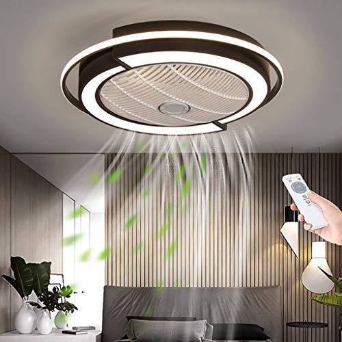 Ventilador De Techo LED Con Iluminación Ultra Silencioso Regulable Fan Luz De Techo Ventilador Invisible Lámpara De Techo Con Control Remoto Dormitorio Ventilador Lámpara,Negro