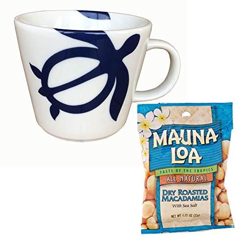 ハワイアンホヌ 海亀 マグカップ×ハワイアンホースト マウナロア マカデミア ナッツセット 父の日ギフト (ネイビー)