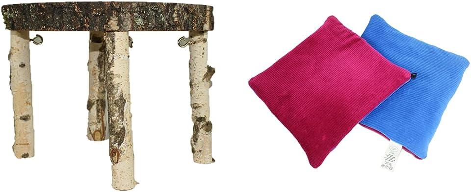 M.G. Hängematten Set - einziges Gestell aus unveränderten Naturholz/Massivholz mit Bio zertifizierten Hängematten (Hängematte - Cord - Königsblau/Purpur)