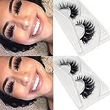 CGlash 3D Mink False Eyelashes Top Quality Mink Eyelashes Long Thick Natural Fake Eyelashes Wispy Reusable Instant Eye Lift Effect 1 Pair Package (3D01)…