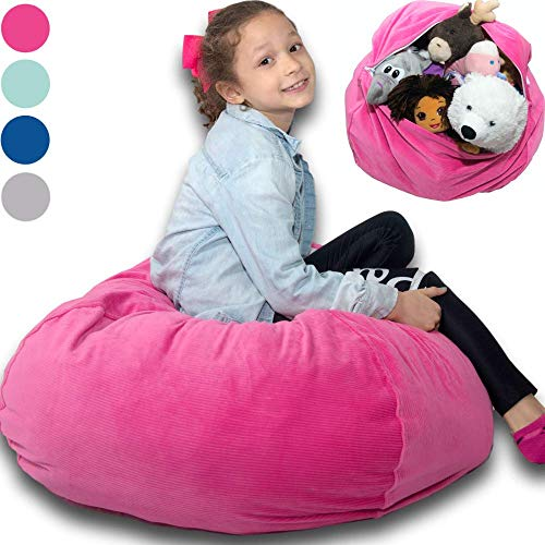"Large Stuffed Animal Storage Bean Bag ""Soft 'n Snuggly"" Corduroy Fabric Kids Prefer Over Canvas - Replace Mesh Toy Hammock or Net - Store Blankets/Pillows Too - 4 Colors"