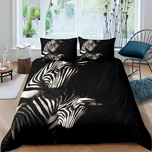 Castle Fairy Duvet Cover Twin Black White Zebra Bedding Set Minimalist Comforter Cover with Pillow Shams Kids Teens Adults Quilt Cover Set Horse Bed Covers Twin 2Pcs Bedclothes