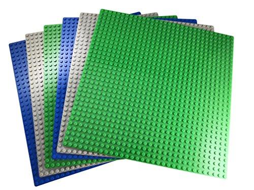Apostrophe Games Bloques De Construcción Placas Base Clásica Compatibles con Todas Las Principales Marcas (Paquete de 6 (Verde, Azul, Gris))