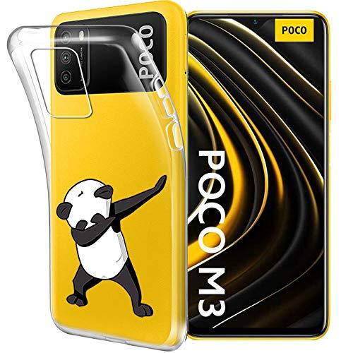 """HYMY Cover per Xiaomi Poco M3 (6.53"""") Morbida Trasparente Silicone Bumper Case TPU Protettivo Copertura Custodia, Big Panda"""