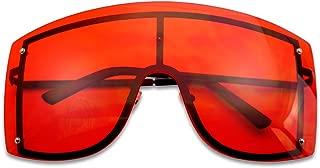 SunglassUP XL Oversized 155mm Rimless Shield Colored Lens Big Sunglasses for Women