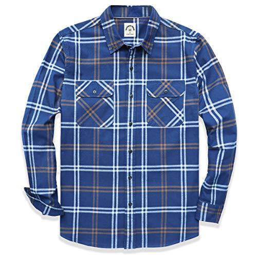 Dubinik - Camicia a quadri a maniche lunghe, in flanella di cotone, stile casual, chiusura con bottoni, vestibilità regolare, con due tasche, da uomo - blu - L