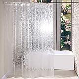 Cokeymove Duschvorhang 3D Wasserwürfel - PEVA Wasserdicht Halbtransparent Klar Anti Schimmel PVC-frei Umweltfre&lich Waschbar180 x 180cm mit 12 Ringe Bad Vorhang für Badezimmer Badewanne