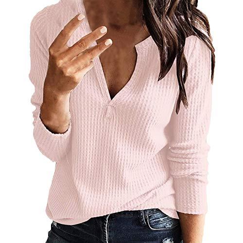 Dorical Strickpullover Damen Herbst Winter Warme Oversized Sweet Pullover V-Neck Lange Billig kaufen Schicke Hochwertige Modern Schöne Netzpullover Sale