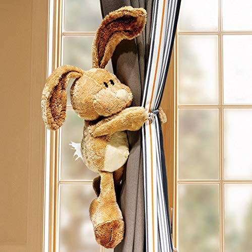 TYX-SS Curtain Buckle, Plush Cartoon Rabbit Curtain Straps Free Punching Children