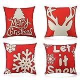 HOWAF 4 Rojo Lino Algodón Fundas de Cojines Almohadas de Navidad Decorativo para Sofá Cama Taburete Sillone Salón Decoraciones Accesorios de Navidad, 45cm x 45cm