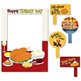 5-Piece Thanksgiving Photo Booth Frame and Props Kit INCLUDES 1 Happy Turkey Day photo booth picture frame prop, 2 round photo booth props and 2 rectangle photo booth props - Great for a Thanksgiving or Friendsgiving party. Take entertaining and shar...