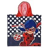 Poncho de baño con Capucha Miraculous Ladybug Rojo/Azul – Capa de baño – Albornoz de Microfibra, Talla única