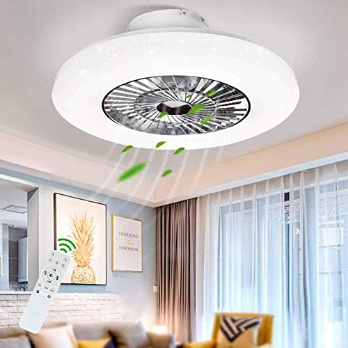 DLLT LED Remote Ceiling Fan with Light Kit-40W Modern Dimmable Ceiling Fan Lighting, 7 Invisible Blades Ceiling Fans, 23 Inch Ceiling lighting Fixture Flush mount, 3 Color Changeable, 3 Files, Timing