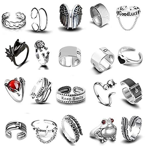 Juego de anillos vintage punk de 20 piezas, anillos de aleación, anillos ajustables geniales para hombres y mujeres, anillos abiertos