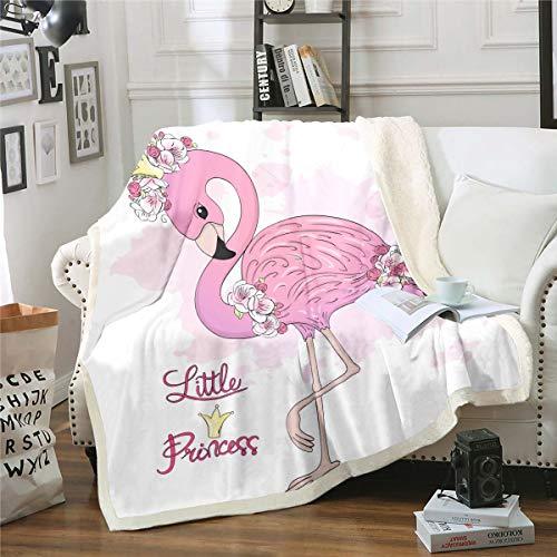 Loussiesd - Manta de flamenco tropical de sherpa con estampado de animales para cama, sofá, sala de estar, color rosa, manta de felpa de pájaro, diseño de flamenco, manta de peluche 3D, 127 x 152 cm