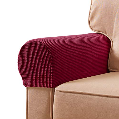 subrtex Chair Arm Covers Armrest Chair Slip Cover for Recliners Chairs Anti-Slip Armrest Slipcovers for Sofa Set of 2 with Free Fixing Tools by Twist Pins (Wine)