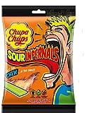 Chupa Chups Infernals Ácidos, Caramelo Masticable de Sabores Variados, Bolsa de 120 gr.