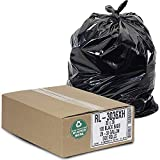 """Aluf Plastics - RL-3036XH 20-30 Gallon Trash Can Liners (100 Count) - 30"""" x 36"""" - Thick 1.5 MIL Equivalent Black Trash Bags for Bathroom, Kitchen, Office, Industrial, Commercial, Recycling and More"""