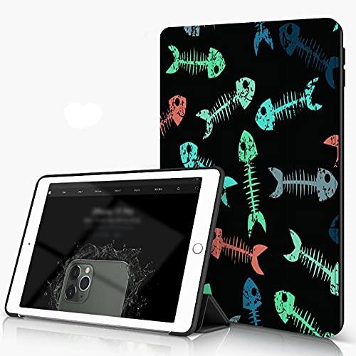 Carcasa para iPad 10.2 Inch, iPad Air 7.ª Generación ,Esqueletos infantiles de peces pequeños multicolores para niñas Niños Ropa deportiva,incluye soporte magnético y funda para dormir/despertar