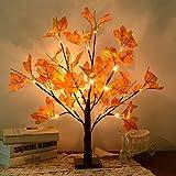 LED Ahornblatt Baum Licht,50cm 24 LEDs Batteriebetriebenes Schreibtisch Ahorn-Blätter (Herbst) Baumlicht Warmweiß,Herbst Dekoration Blätter Lichterketten,Perfekt für Erntedankfest, Ostern,Weihnacht