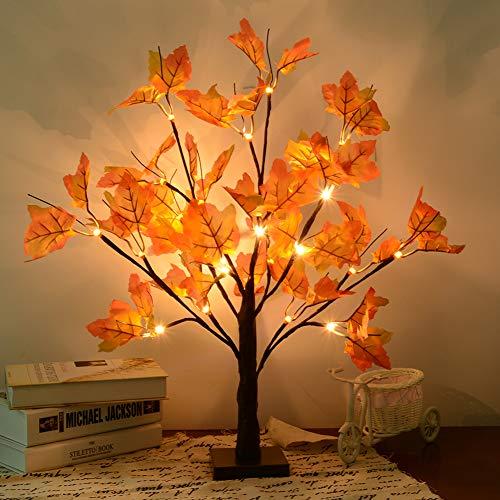 24 LEDs Ahornblatt Baum Licht, 50cm Schreibtisch Ahorn-Blätter (Herbst) Baumlicht Warmweiß,Herbst Dekoration Blätter Lichterketten für Thanksgiving, Weihnachten, Innen Deko
