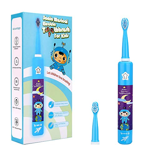 Musical Electric Toothbrushes for Kids Children, 3 Modes 2 Min Timer, Waterproof 31000 Strokes, 4 Bristles OJV 8620 Rechargeable Power Smart Sonic Music Play Song for Boy Oral-Care Age 3-14 (Blue)