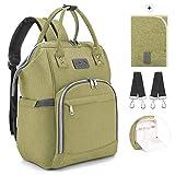 Viedouce Baby Wickelrucksack Wickeltasche Babytasche,Wasserdicht Oxford Große Kapazität für ausgehen,Multifunktional zum Rucksack mit 1 Stück Wickelauflage und 2 Kinderwagengurten (Grün)