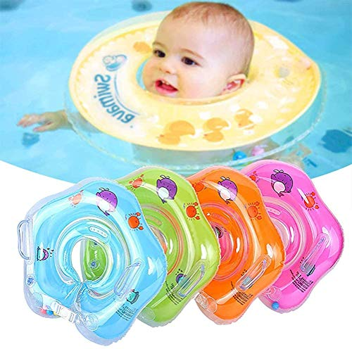 Salvagente Collo Neonato - Anello Gonfiabile Da Nuoto Con Galleggiante Per Piscina A 2 Maniglie Per Bambini - Gonfiabile Regolabile Doppio Airbag Salvagente Neonate Per 1-18 Mesi Baby (blu)
